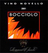 """Bocciolo""- vins primeurs I.G.T. ""Salento"" Red Wine Grapes: 60% Negroamaro - 40% Montepulciano. Best and unbroken bunches are chosen on the vine, then picked and gathered in boxes(20 kg each). After being carried to the winery the grapes are introduced into hermetic inox tanks. Carbone dioxide is put instead of air so that carbonic maceration can take place and lasts about 8 days. After pressing the must can ferment under controlled temperature in inox tanks. After fermentation the wine is bottled and is ready to use. Gastronomic combination: An excellent fruity wine, suits all the meal"